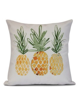 "Gold/White Pineapples Print Pillow Throw Pillow (16""X16"")   E By Design by E By Design"