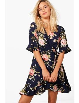 Christina Floral Frill Hem Wrap Dress by Boohoo