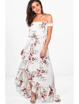 Jo Floral Off Shoulder Ruffle Wrap Maxi Dress by Boohoo