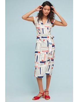 Geometric Silk Wrap Dress by 34 N 118 W