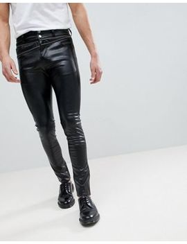 Asos Super Skinny Jeans In Black Faux Leather With Zip Details by Asos