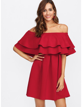 Layered Flounce Off Shoulder Dress by Shein