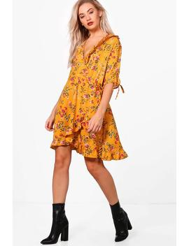 Fiona Floral Ruffle Detail Wrap Dress by Boohoo
