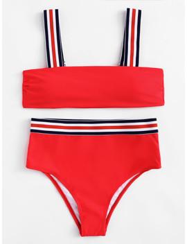 Striped Straps High Leg Bikini Set by Sheinside