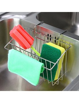 Sponge Holder, Aiduy Sink Caddy Kitchen Brush Soap Dishwashing Liquid Drainer Rack   Stainless Steel by Aiduy