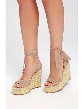 Barca Blush Kid Suede Leather Lace Up Espadrille Wedges by Tony Bianco