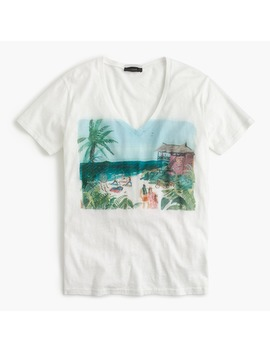 Beach Scene V Neck T Shirt by J.Crew