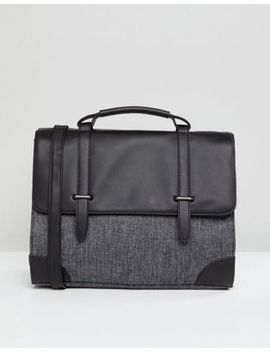 Asos Satchel In Faux Leather And Contrast Gray Panel by Asos