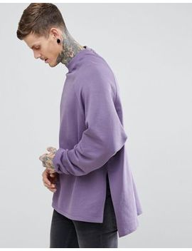 Asos Super Longline Oversized Sweatshirt With Side Splits & Dropped Hem by Asos