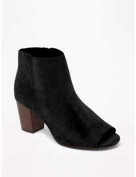 Sueded Peep Toe Booties For Women by Old Navy