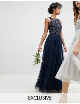 Maya Sleeveless Sequin Bodice Tulle Detail Maxi Bridesmaid Dress With Cutout Back by Maya