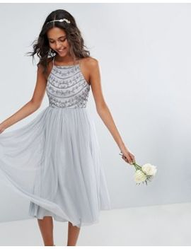 Asos Bridesmaid Delicate Beaded Strappy Back Midi Dress by Dress
