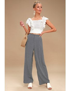 Cora Blue And White Print Cropped Wide Leg Pants by Tavik