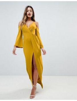 Asos Slinky Deep Plunge Cold Shoulder Kimono Maxi Dress by Asos Collection