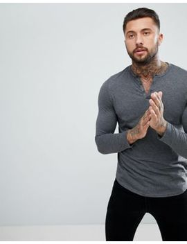 Asos Design Grandad T Shirt With Curve Hem In Grey by Asos
