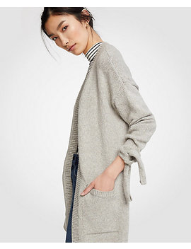 Ribbed Tie Sleeve Open Cardigan by Ann Taylor