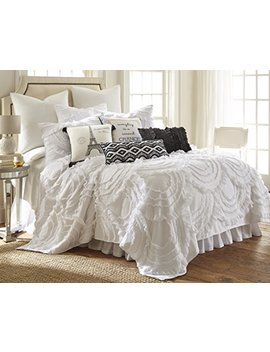 Layla King Cotton Quilt Set, White by Levtex