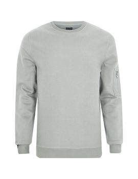 Light Grey Zip Pocket Sleeve Sweatshirt by River Island