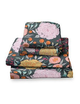 Twin Sheet Set Floral Print In Pink, Gray, Seafoam Green, Teal And Soft Gold   Double Brushed Ultra Microfiber Luxury Bedding Set by Where The Polka Dots Roam