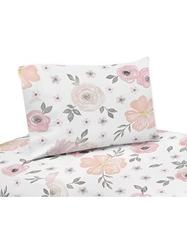 Sweet Jojo Designs 3 Piece Blush Pink, Grey And White Twin Sheet Set For Watercolor Floral Collection Set by Sweet Jojo Designs