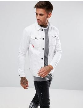 11 Degrees Muscle Denim Jacket In White by 11 Degrees
