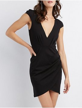 V Neck Ruched Bodycon Dress by Charlotte Russe