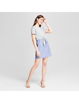 Women's French Terry Dress With Poplin Detail   Vanity Room Gray by Vanity Room