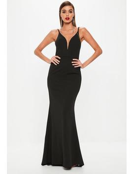 Black Deep V Fishtail Maxi Dress by Missguided