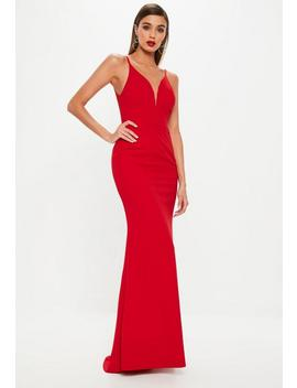 Red Deep V Fishtail Maxi Dress by Missguided