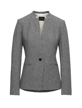 Long And Lean Fit Inverted Collar Bi Stretch Blazer by Banana Repbulic