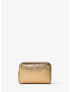 Miranda Crackled Metallic Leather Card Holder by Michael Kors Collection