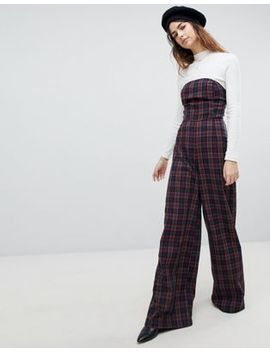 Unique 21 Strapless Wide Leg Jumpsuit In Plaid by Unique 21