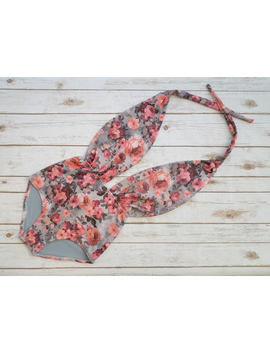 One Piece Swimsuit High Waisted Vintage Style Retro Pin Up Maillot    Pretty Floral Gray Pink Tropical Rose Print Bathing Suit Swimwear by Etsy