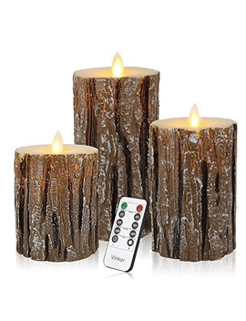 Vinkor Flameless Candles Led Candles Flickering Flameless Candles Bark Effect Moving Set Of 3 Battery Candles Real Wax Pillar With 10 Key Remote Control   2/4/6/8 Hours Timer by Vinkor