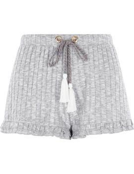 Light Grey Rib Knit Frill Hem Shorts by River Island