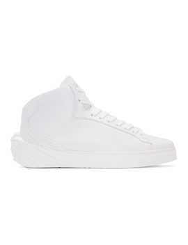 White Back Medusa Head High Top Sneakers by Versace