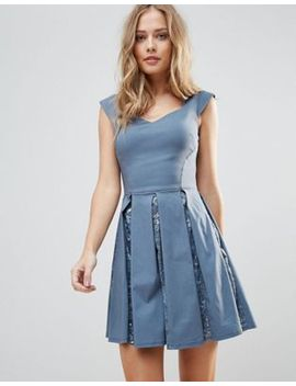 City Goddess Skater Mini Dress With Sequin Pleat Detail by Dress
