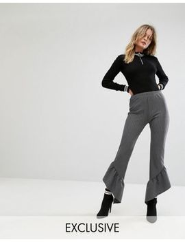 missguided-pinstripe-asymmetric-frill-hem-pant by missguided
