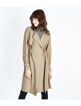Stone Belted Longline Mac by New Look