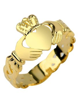Ladies 10k Gold Claddagh Ring With Trinity Band by Claddagh Rings