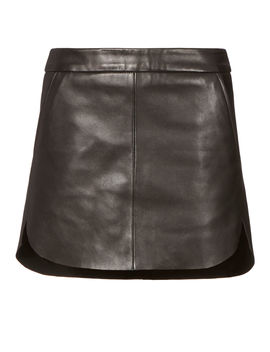 Baseball Hem Leather Mini Skirt by Michelle Mason
