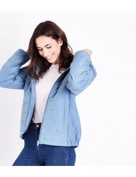Pale Blue Hooded Puffer Jacket by New Look