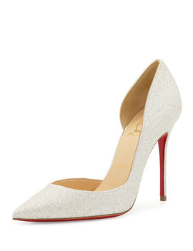 Iriza Glittered Half D'orsay Red Sole Pump, Ivory/Light Gold by Christian Louboutin