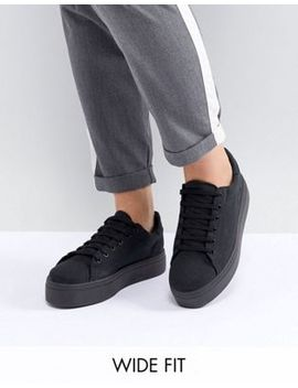 Asos Design Day Light Wide Fit Flatform Lace Up Trainers by Asos Design