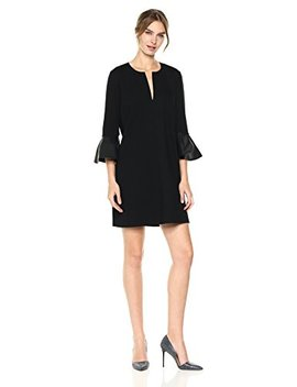 Bcbgmaxazria Bcbg Max Azria Women's Catier Knit Dress With Faux Leather Peplum Sleeves by Bcbgmaxazria