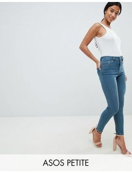 Asos Petite Ridley High Waist Skinny Jeans In Amaris Green Cast Wash by Asos Design