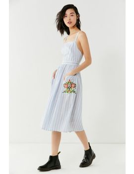 Uo Elle Embroidered Pocket Striped Midi Dress by Urban Outfitters