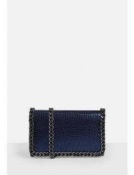 Navy Snake Print Chain Cross Body Bag by Missguided