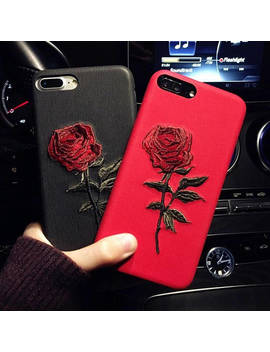 I Phone 7 Plus Case,I Phone 8 Plus Case,I Phone X Case,Embroidery Case,Rose Case by Etsy