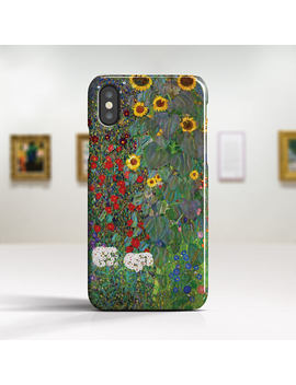 """I Phone X Case Klimt """"Garden With Sunflowers""""Art I Phone 8 Case I Phone 8 Plus Case I Phone 7 Case I Phone 7 Plus Case And More Tough Cases. by Etsy"""